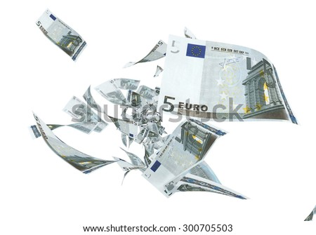 Fly Five euro banknotes close-up (isolated on white and clipping path) - stock photo