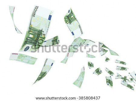 Fly Hundred euro banknotes close-up (isolated on white and clipping path) - stock photo