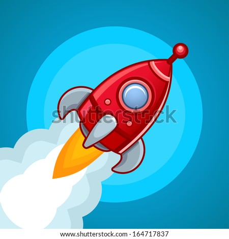 Fly rocket on blue sky - stock photo