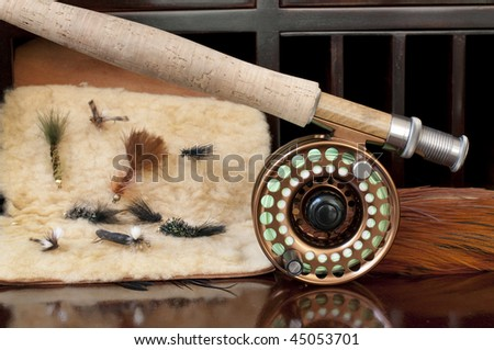 Fly Rod being prepared for a day of fly fishing. - stock photo