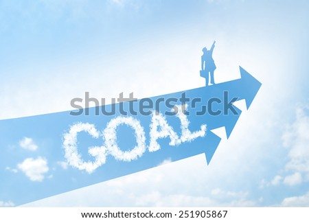 Fly to the goal concept. Businessman stands on arrowhead and flies to sky. - stock photo