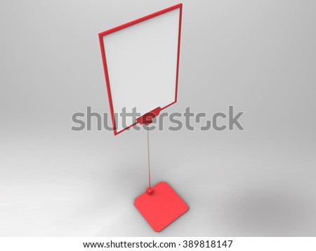 Flyer Display 3D Render is a professional realistic render of plastic stand display customized for A size flyers or posters, used for marketing campaigns, product placement, and branding campaigns. - stock photo