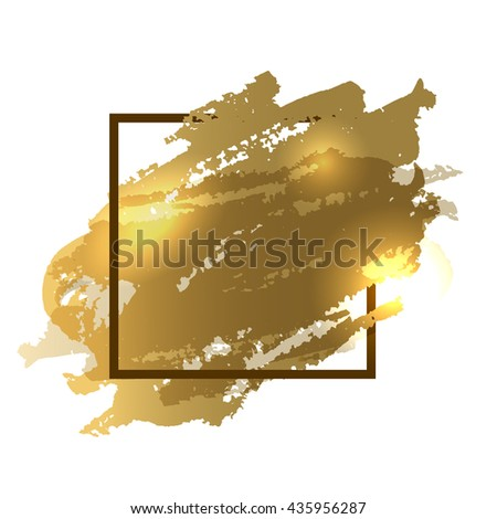 Flyer template. Gold flyer with a space for text. Watercolor imitation background with a frame. Design for flyers, brochures, banners, posters, logo, logotype, cover, background etc. Christmas flyer - stock photo