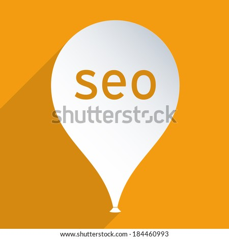 Flying balloon. SEO, Search Engine Optimization concept. - stock photo