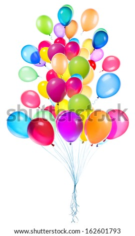 flying balloons isolated on a white background - stock photo