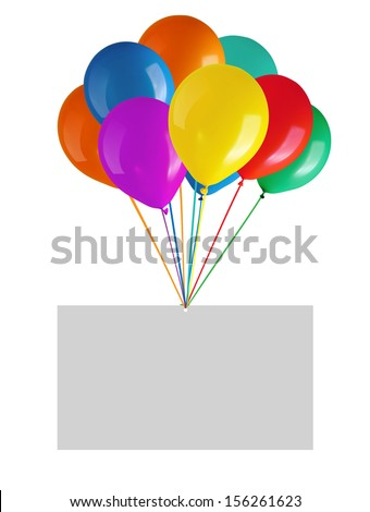 Flying balloons with blank card. Isolated on white background - stock photo