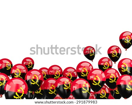 Flying balloons with flag of angola isolated on white - stock photo