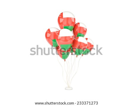 Flying balloons with flag of oman isolated on white - stock photo
