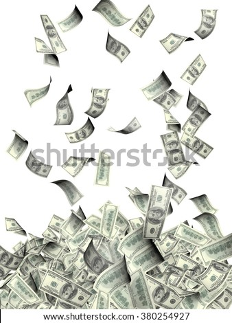 Flying banknotes of dollars. Isolated on white background - stock photo
