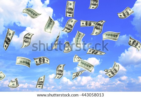 Flying banknotes of dollars on blue sky background. 3d render - stock photo