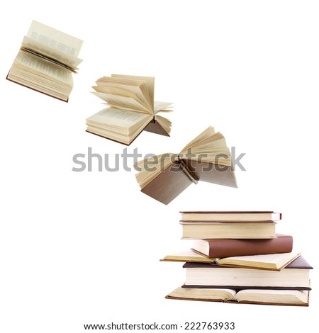 Flying books isolated on white - stock photo