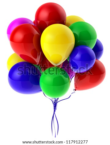 Flying bunch of balloons with helium for party - stock photo