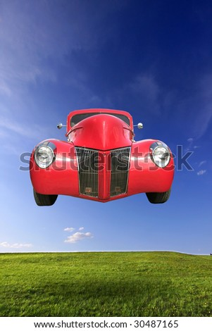 Flying Car - stock photo