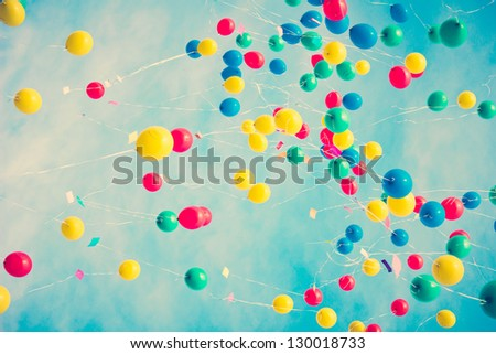 Flying color balloons - stock photo