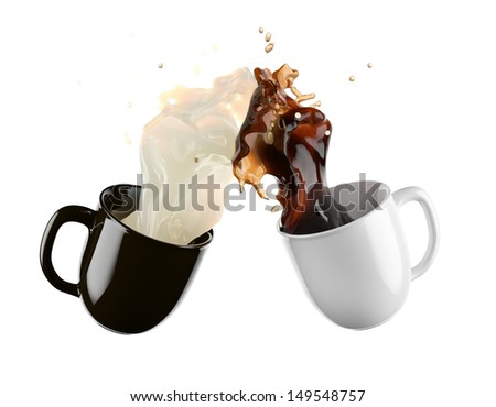 flying cups of coffee and milk - stock photo