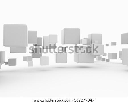 Flying 3d cubes slight shadow  - stock photo
