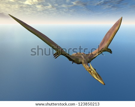 Flying Dinosaur Quetzalcoatlus Computer generated 3D illustration - stock photo