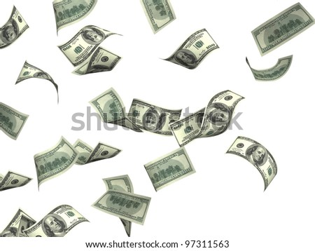 Flying dollar banknotes. Isolated over white - stock photo