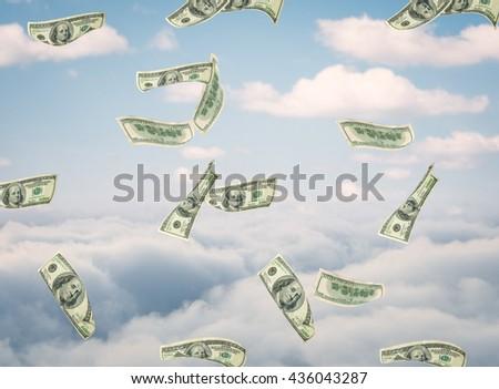 Flying dollar bills - stock photo