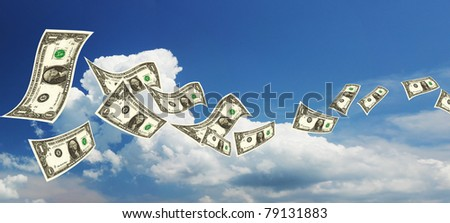 Flying dollars banknotes - stock photo