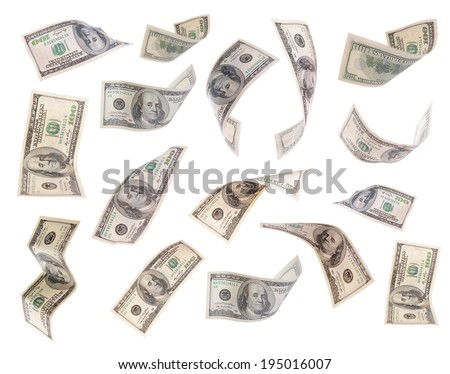 Flying dollars banknotes isolated on white - stock photo