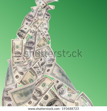 Flying dollars banknotes on green background - stock photo