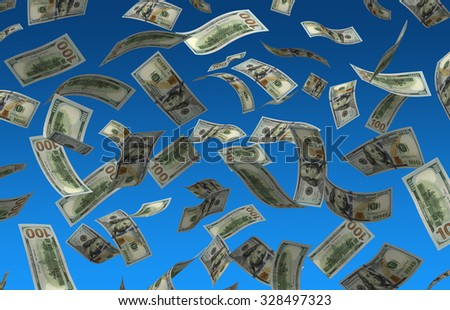 Flying Dollars (isolated with clipping path) - stock photo
