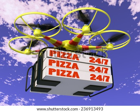 Flying drone to which are attached three boxes of pizza. - stock photo