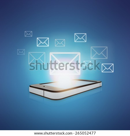 Flying envelopes of letters on a mobile phone. - stock photo