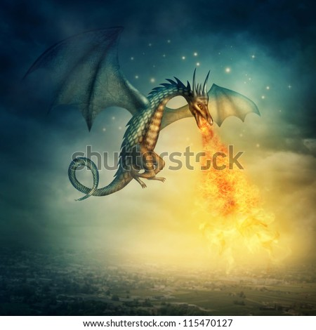 Flying fantasy dragon at night - stock photo