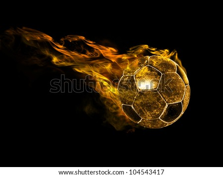 flying fiery ball on black background - stock photo