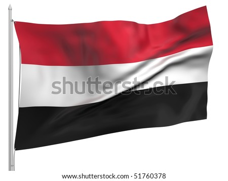 Flying Flag of Yemen - All Countries Collection. - stock photo