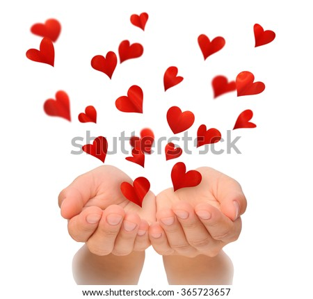 Flying hearts from cupped hands of woman, Valentine, Valentine's Day, Happy Valentines day, love concept, isolated, white background, birthday card, health insurance, hearts made from flower petals - stock photo