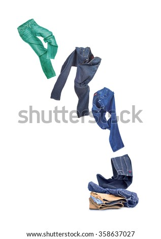 flying jeans isolated on white background  - stock photo