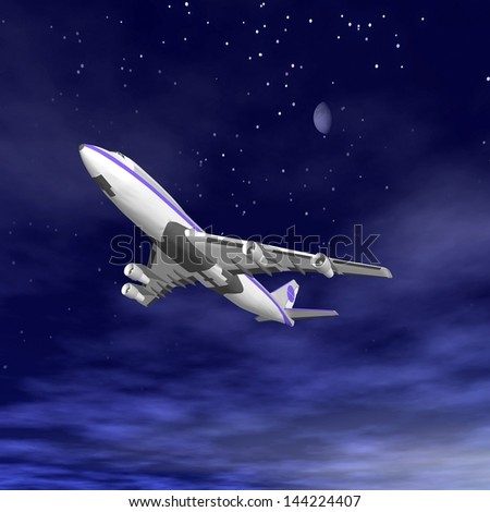 Flying jet airplane. 3D render. - stock photo