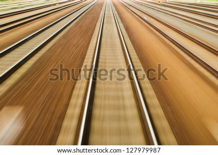 Flying Landscapes through train window - stock photo