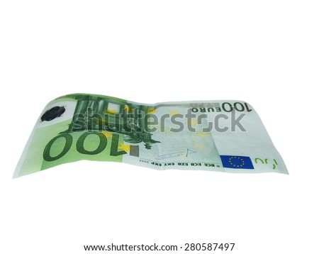 flying one banknote 100 euro isolated on white - stock photo