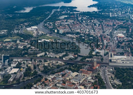 Flying over Germany - Aerial view of Berlin-Spandau and the River Havel - stock photo