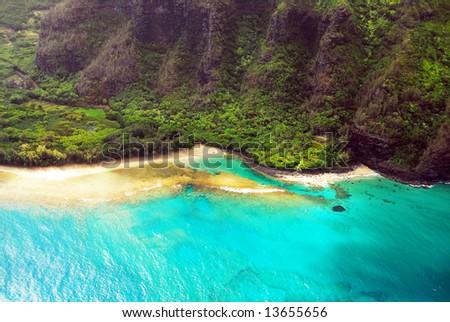 Flying over the Hawaiian coast - stock photo