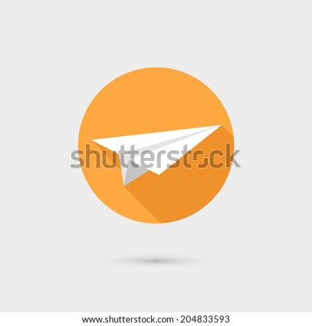 Flying paper airplane symbol icon raster illustration, flat design - stock photo