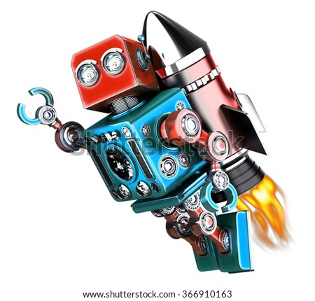 Flying retro robot. Technology concept. Isolated. Contains clipping path - stock photo