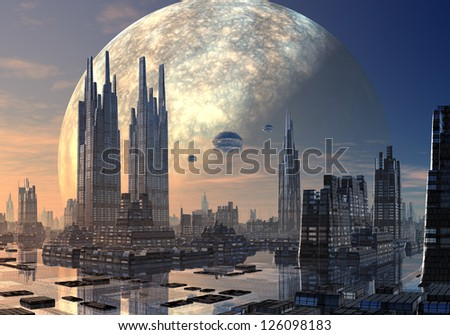 Flying Saucers over Modern Cityscape - stock photo
