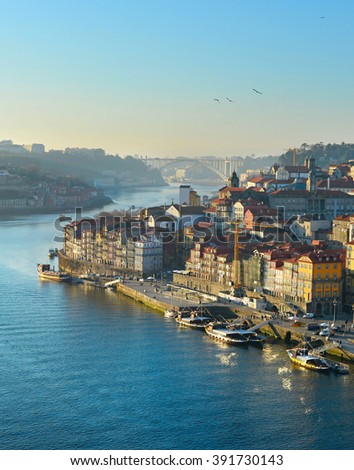 Flying seagull over the Porto Old Town at sunset . Portugal - stock photo