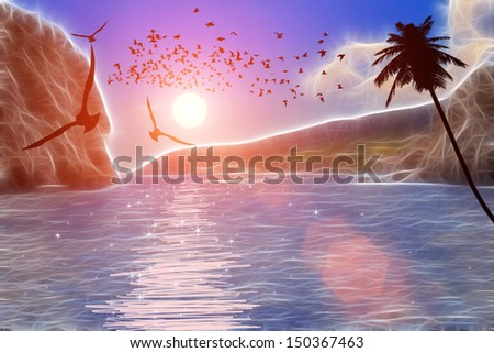 Flying seagulls over the sea at sunset - stock photo