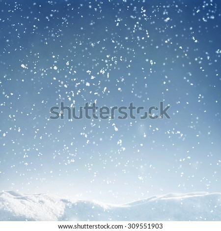Flying snow in winter and snowdrift, soft focus - stock photo