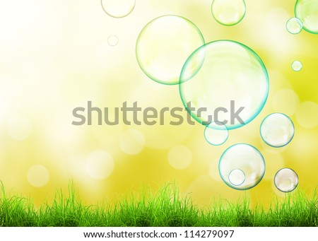 Flying soap bubbles and green grass over beauty natural background - stock photo