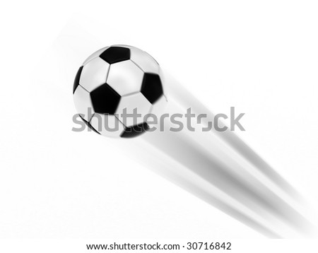 Flying soccer ball on white background rendered with motion blur effect. High resolution 3D image. - stock photo