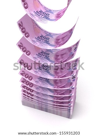 Flying Turkish Lira Transfer (isolated with clipping path) - stock photo