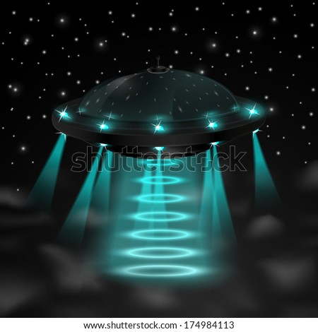 Flying ufo in the night  illustration - stock photo