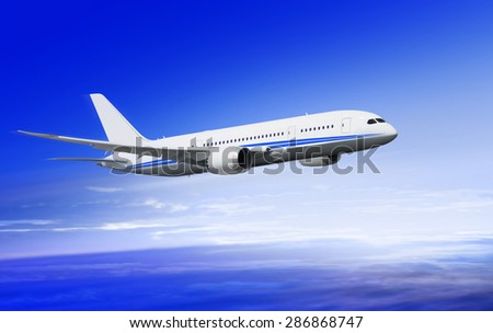 flying-up white passenger plane in the sky over clouds - stock photo